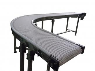 Conveior curb cu banda modulara - 90 grade