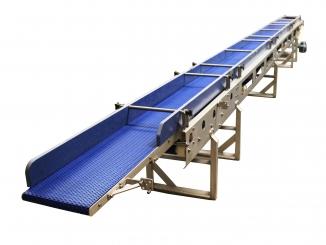 Conveior extensibil - bandă modulară – structură inox